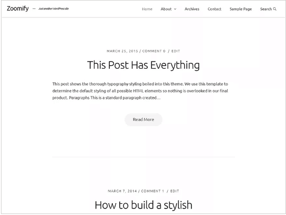 template minimalista wordpress