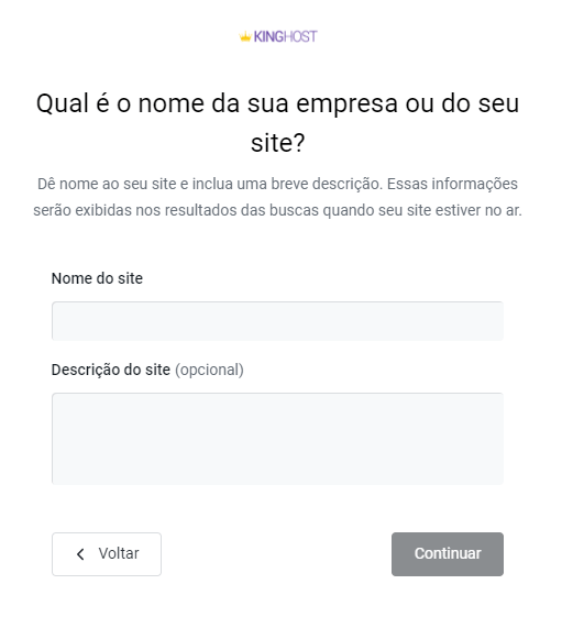 Inserir nome do site criado