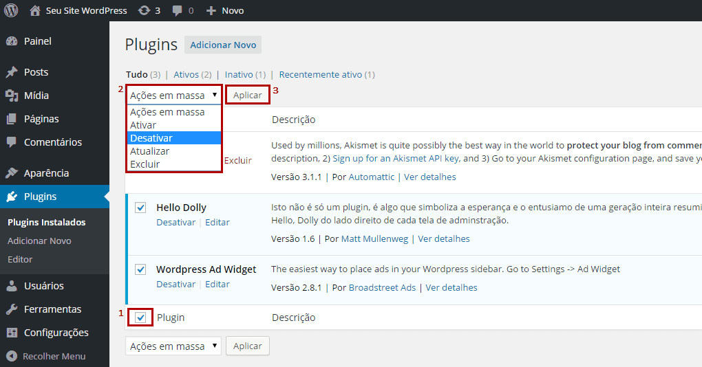 WP - Desativar todos os plugins