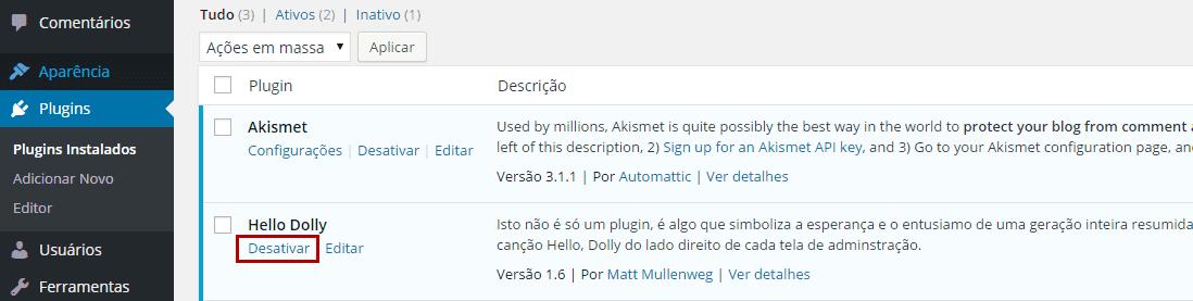 WP - Desativar um único plugin