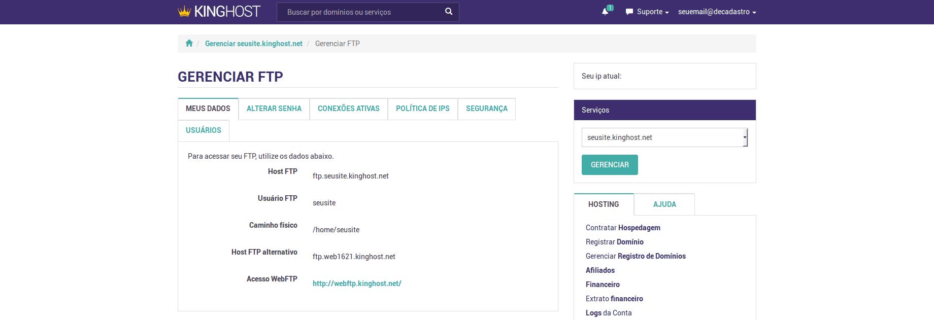 Dados de acesso ao FTP no Painel de Controle KingHost