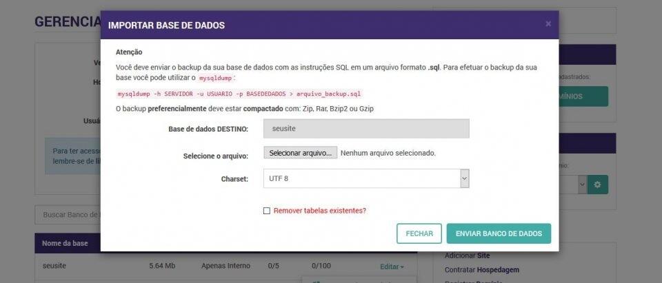 Painel de Controle > Gerenciar Bancos MySQL