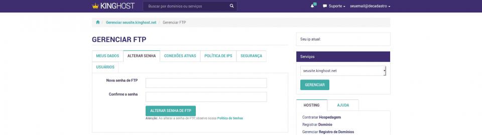 Painel de Controle > Gerenciar FTP
