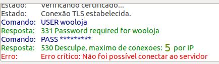 530 Desculpe, maximo de conexoes: 5 por IP