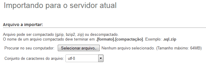 phpmyadmin - importar sql