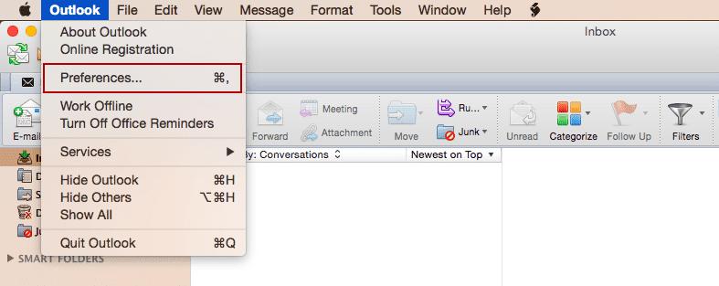 Configurando sua conta de email no Outlook 2011