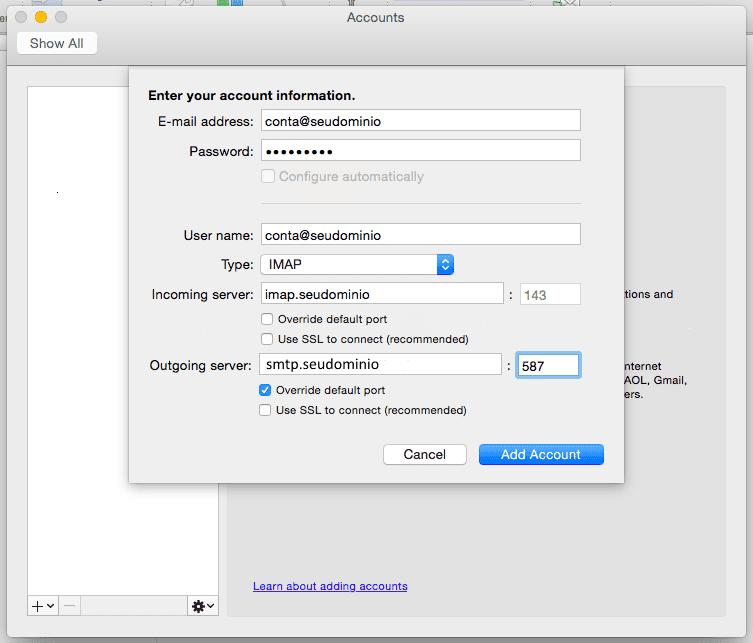 Configurando sua conta no Outlook 2011