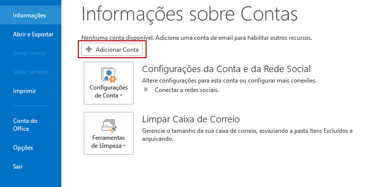 Configurando o Outlook 2013