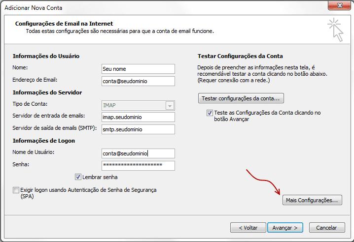 Configuração do Outlook 2010 - Passo 3