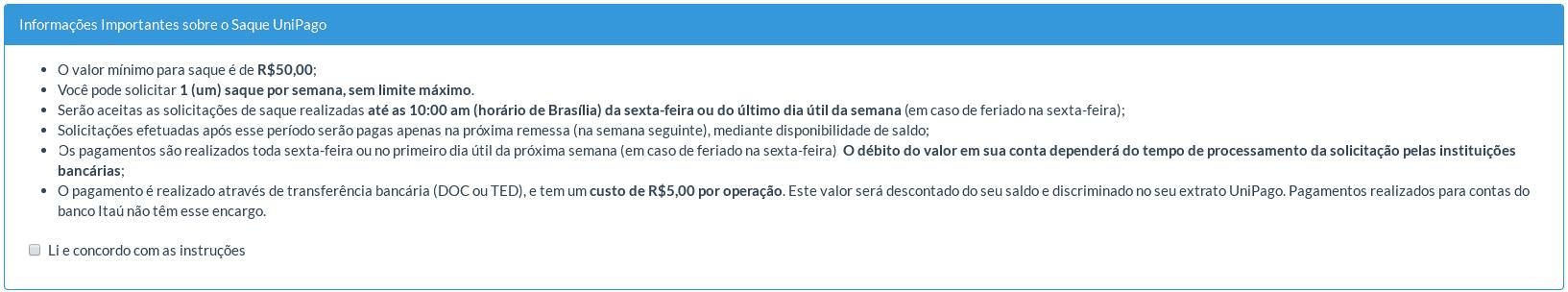 UniPago - Solicitar saque do UniPago