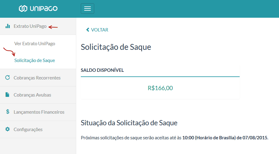 UniPago - Solicitar saque