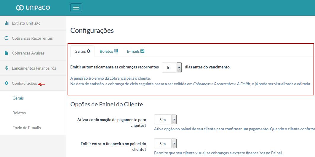 UniPago - emissão das cobranças