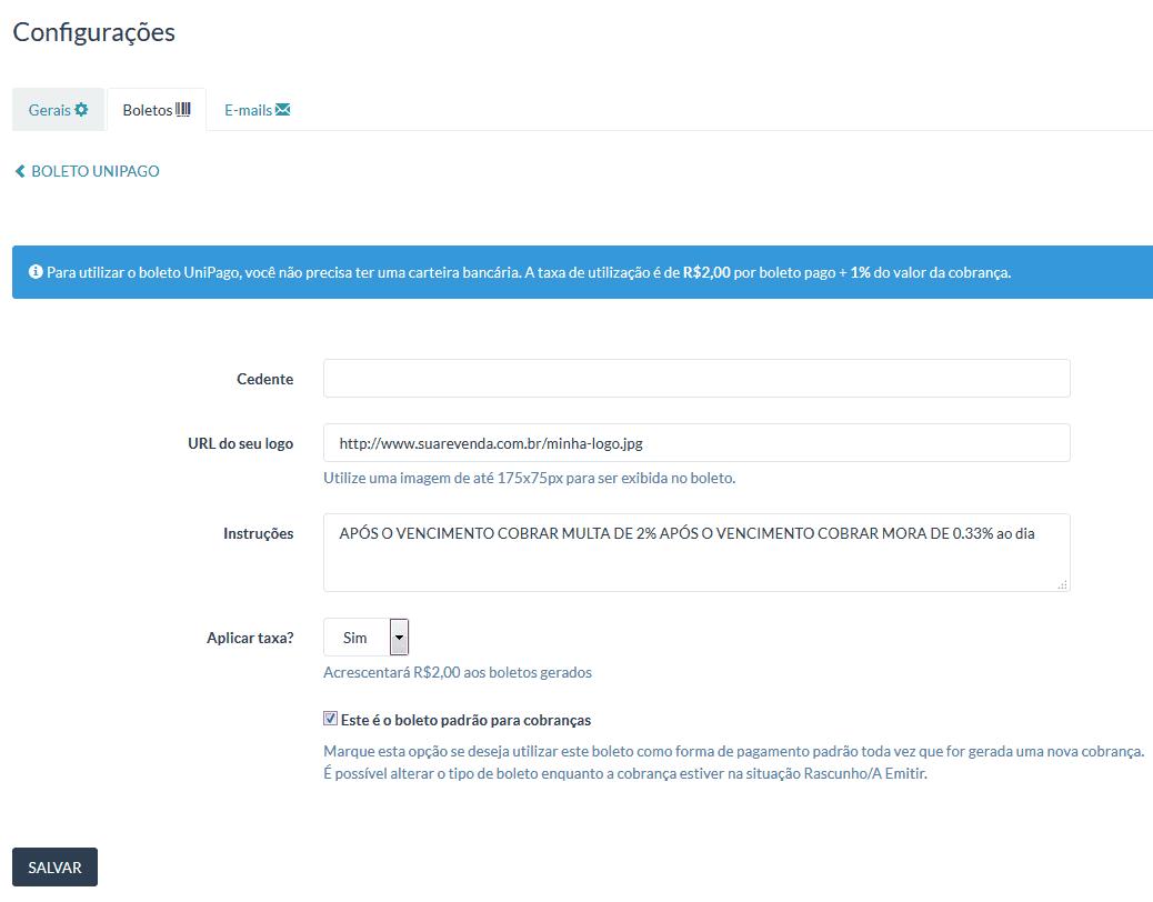 UniPago - Configurar boleto