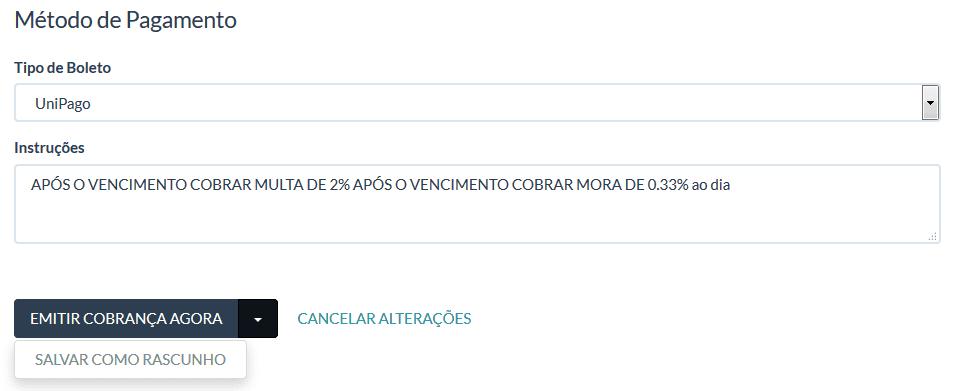 UniPago - Cobrança avulsa