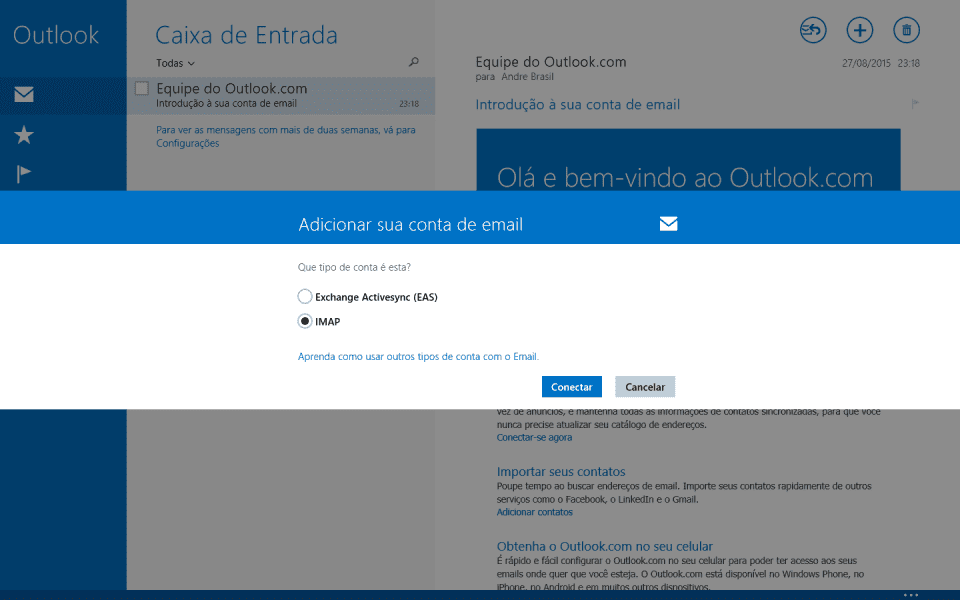Configurando seu email no Windows 8