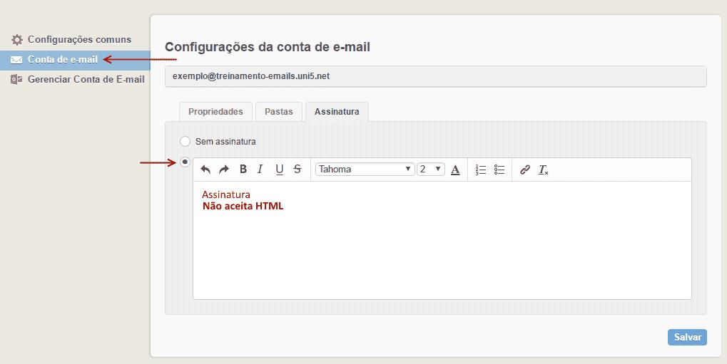 Assinatura de email no AfterLogic