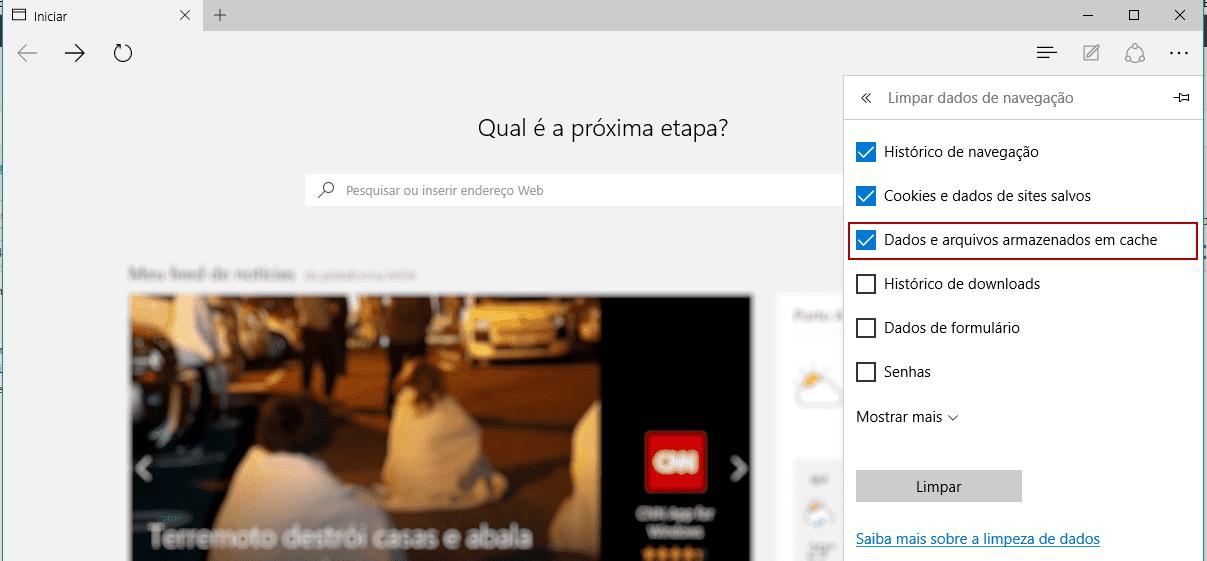Limpar o cache do Microsoft Edge