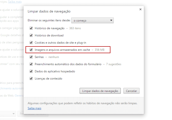 Limpar cache do Chrome