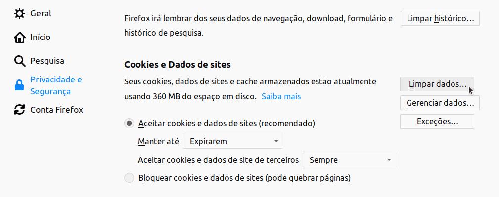 Limpar o cache do Mozilla Firefox