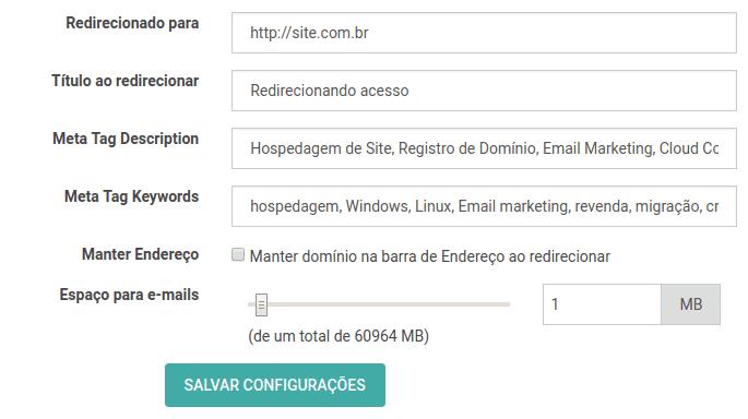 Meta tags no plano email personalizado