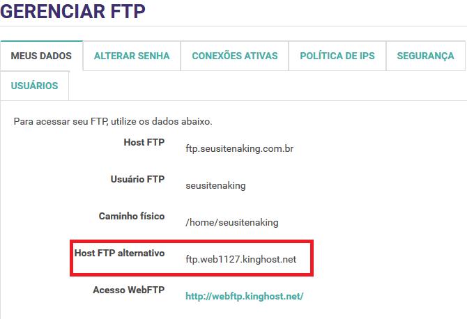 Painel de Controle > Gerenciar FTP - Meus dados
