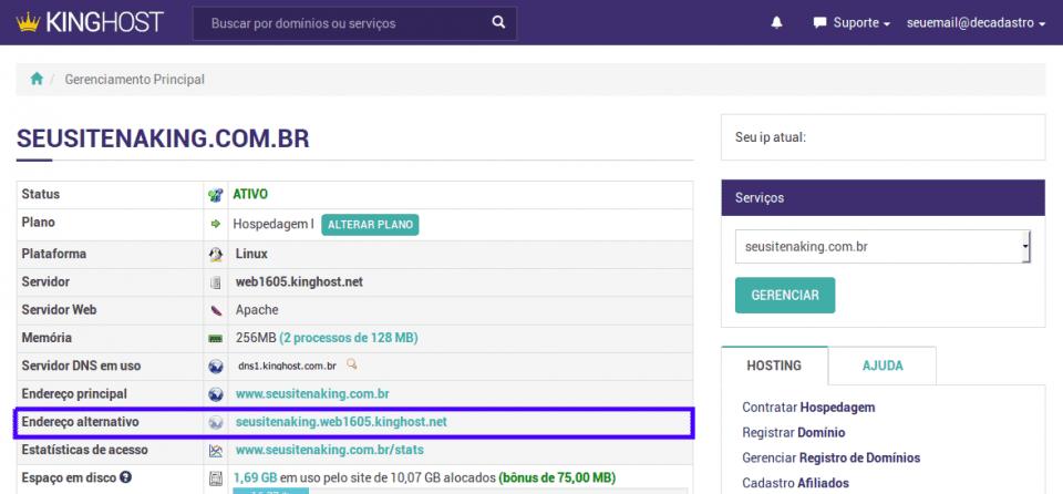 Painel de Controle > Informações do domínio