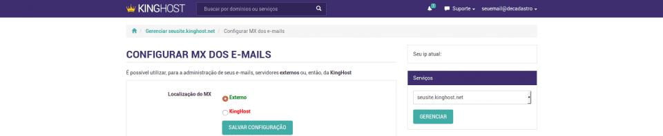 Painel de Controle > Configurar MX dos e-mails