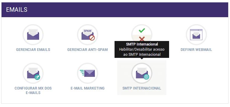 Painel de Controle > SMTP Internacional