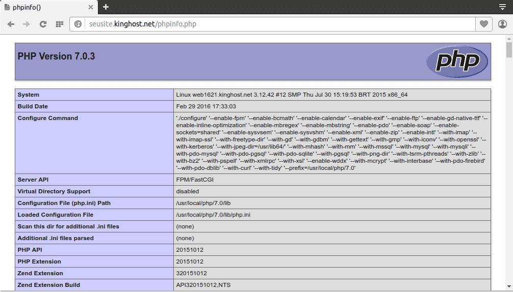 verificar a versão de php