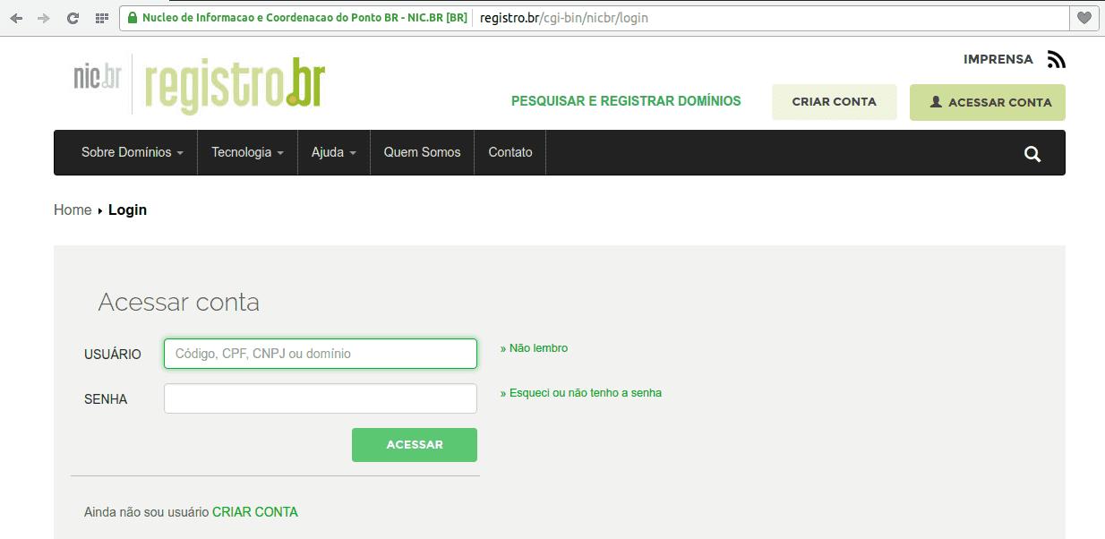 Registro.br - Acessar conta