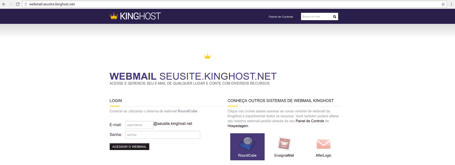Webmail KingHost