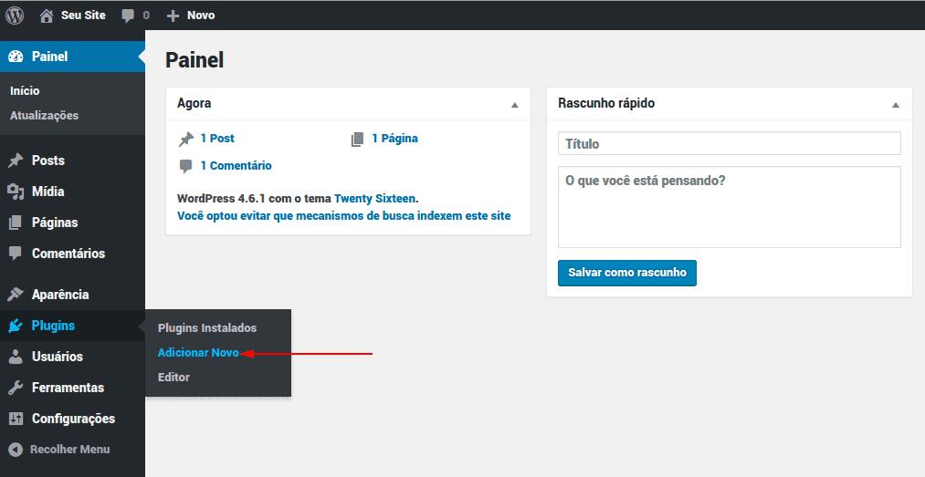 wp-admin > Plugins > Adicionar novo