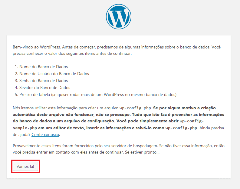 Instalação do WordPress.
