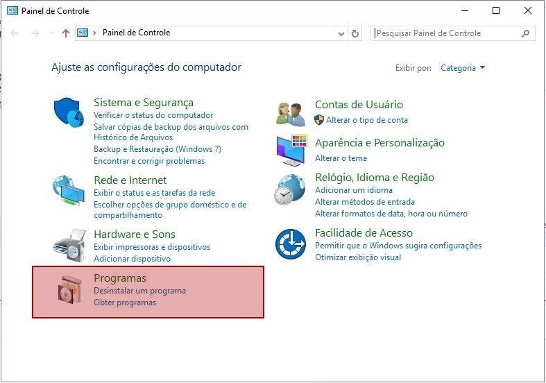 Sistema Operacional Windows 10> Painel de Controle