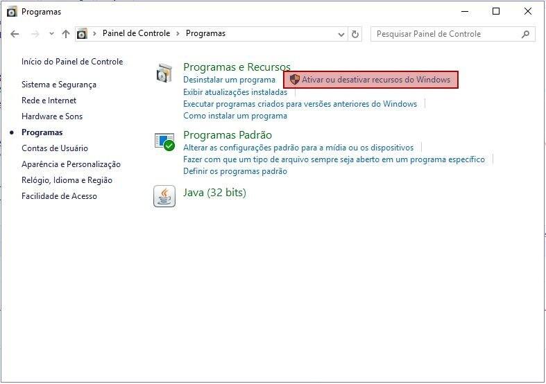 Sistema Operacional Windows 10 > Painel de Controle