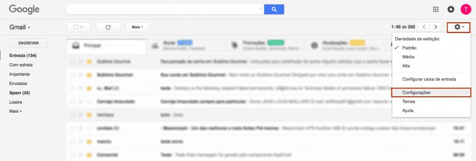 Configurar conta de email no Gmail