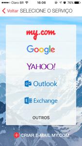 Configurando conta de email no MyMail.