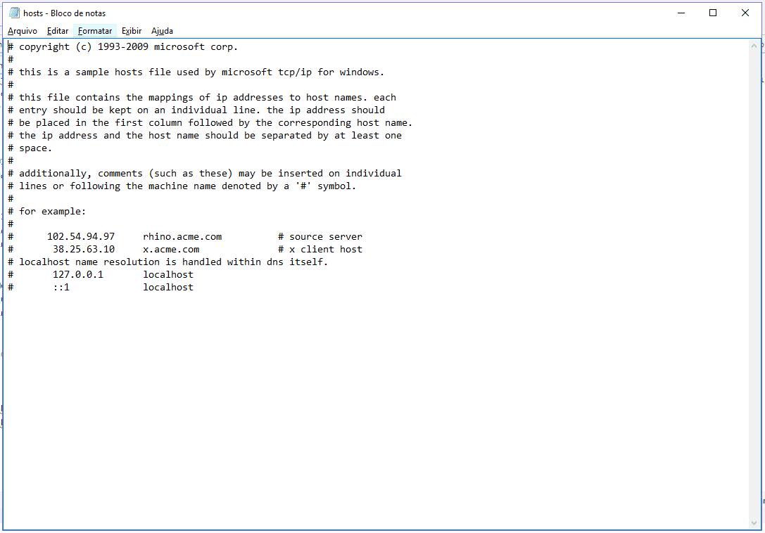 Arquivo hosts no Windows