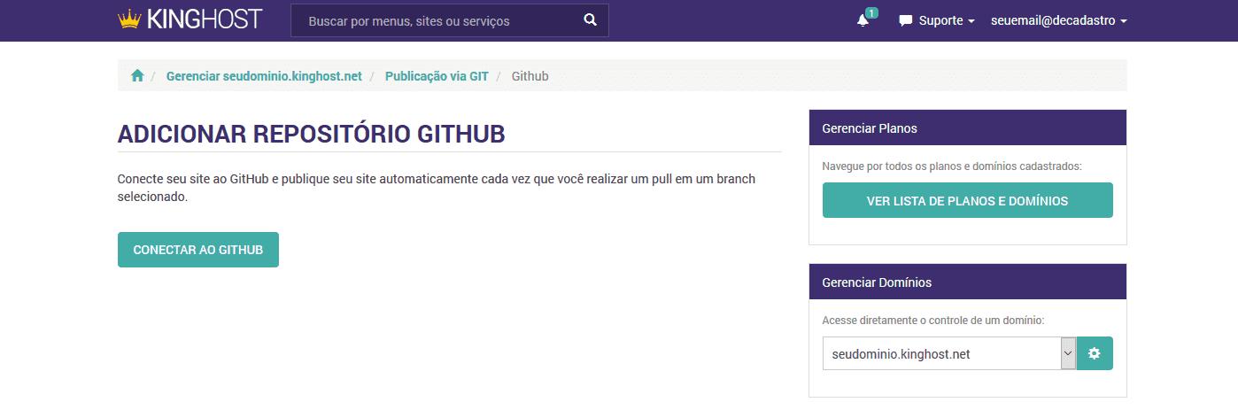 Git Webhook - Integrar o GitHub ao Painel de Controle da KingHost