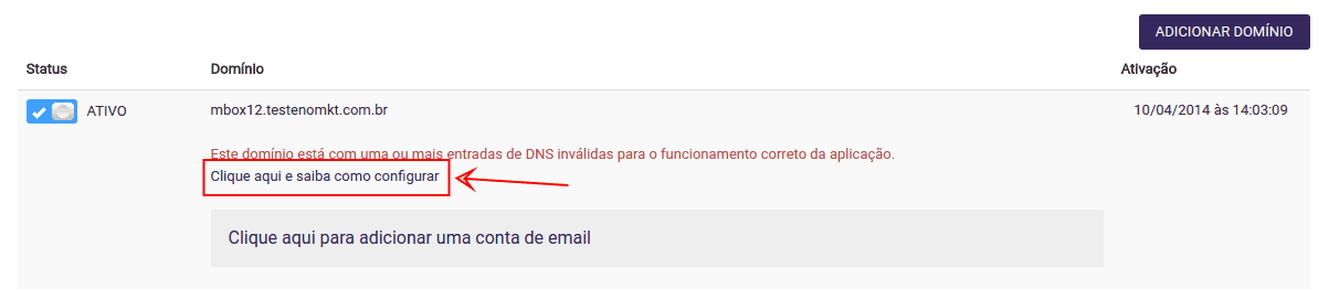 Configurar domínios adicionais no Email Marketing