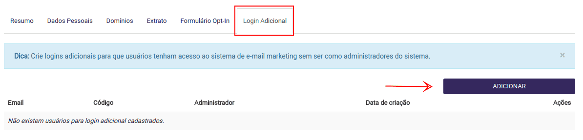 logins adicionais no Email Marketing