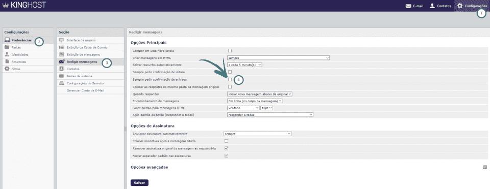RoundCube - Configurar confirmação de leitura - Mensagem entregue com sucesso
