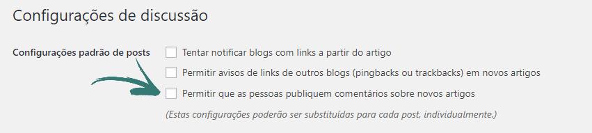 WordPress / Configurações / Discussão - Desabilitar comentários