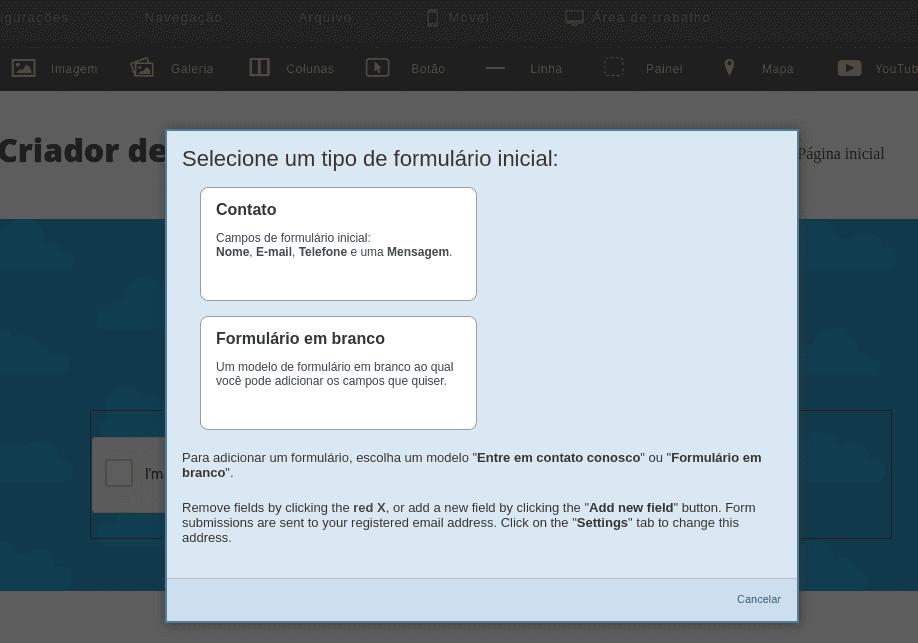 Como Inserir Formulário no Criador de Site
