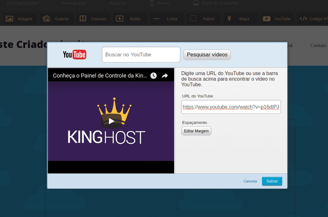 Como inserir Vídeo no Criador de Site