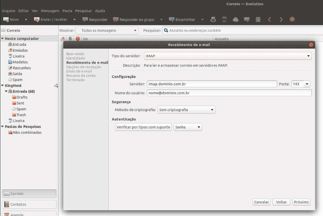 configurar conta de email no Evolution