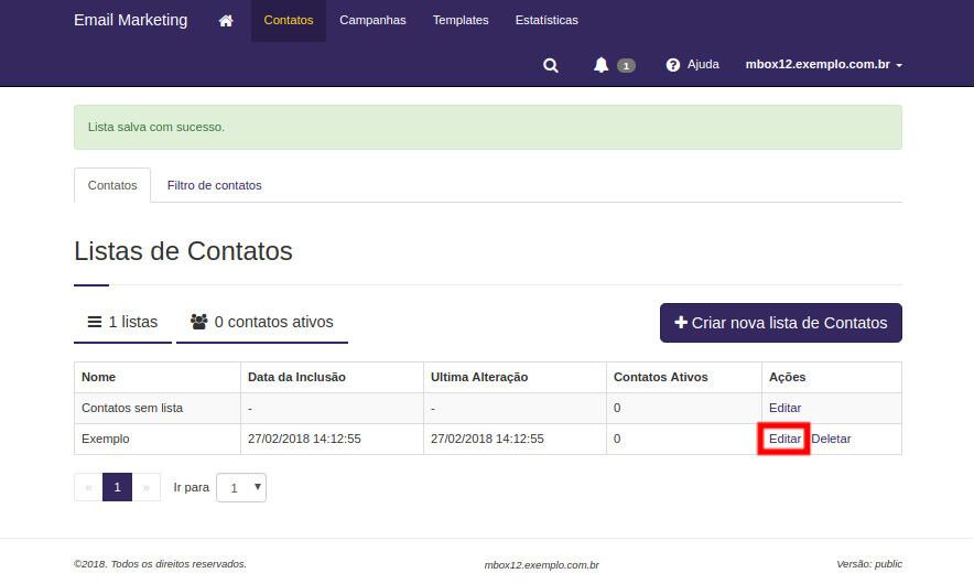 Email Marketing: Exemplo de lista de contatos