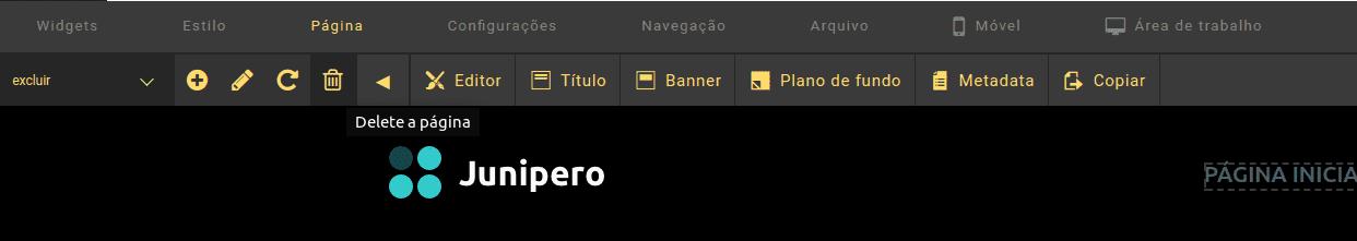 Criador de Site - Excluir uma página