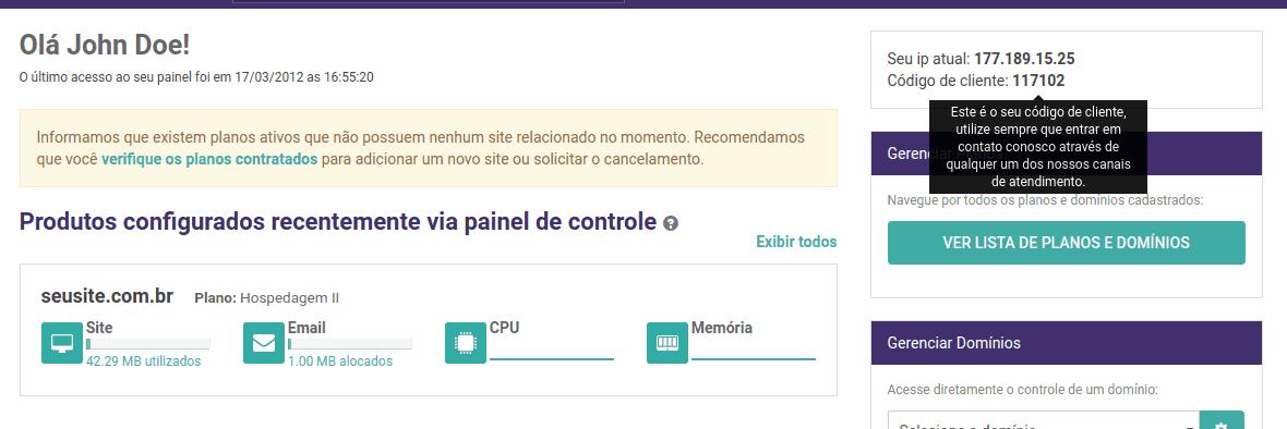 Painel de Controle - Código de cliente