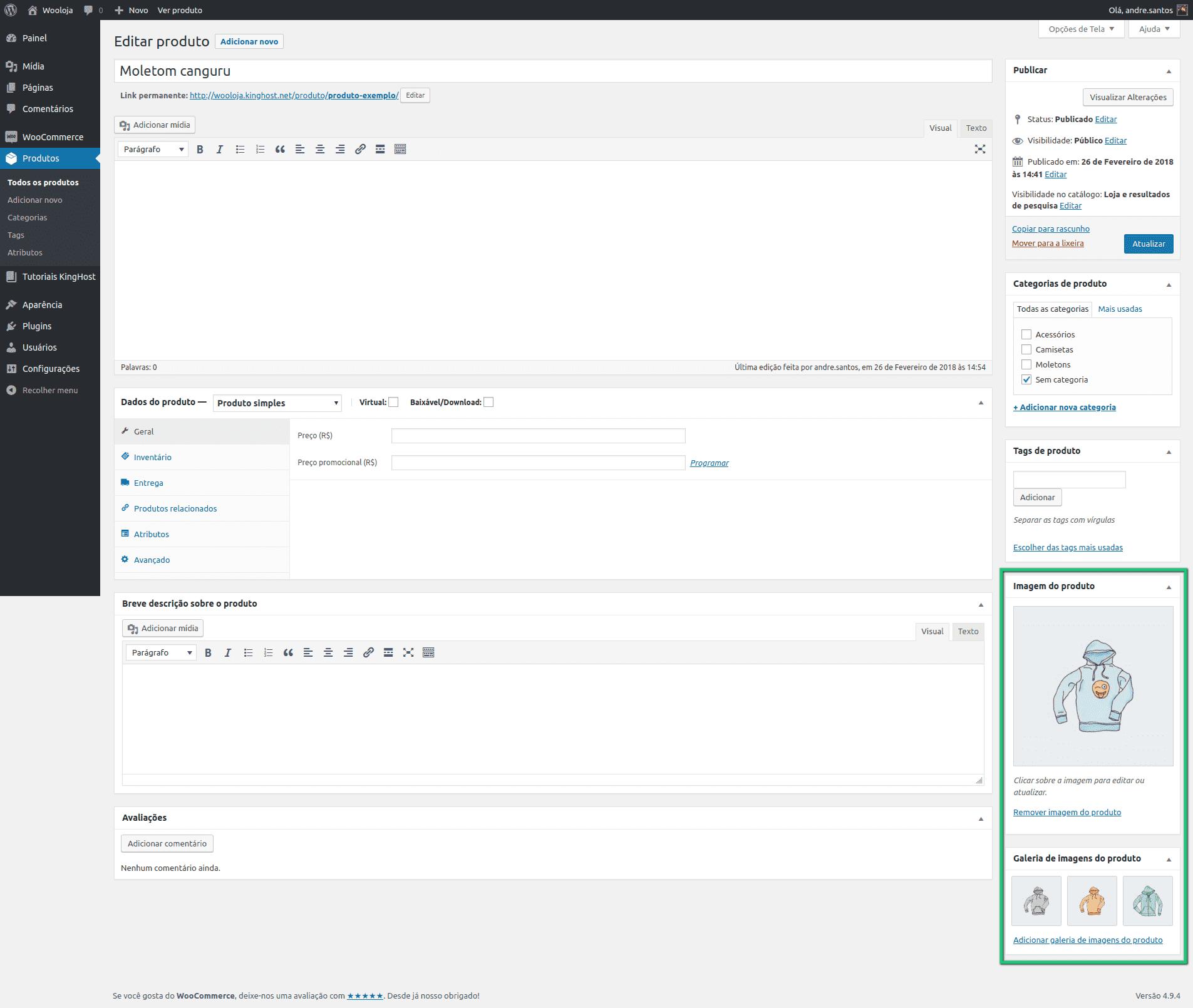 WooCommerce - Imagens do produto